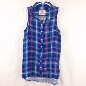 Justice Sleeveless Tunic Top Contrasting Plaid